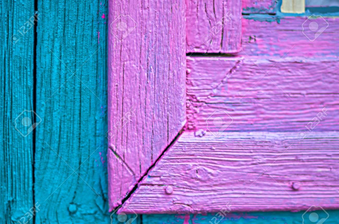 Détails Dun Vieux Cadre De Fenêtre En Bois Peint Et Le Mur De La