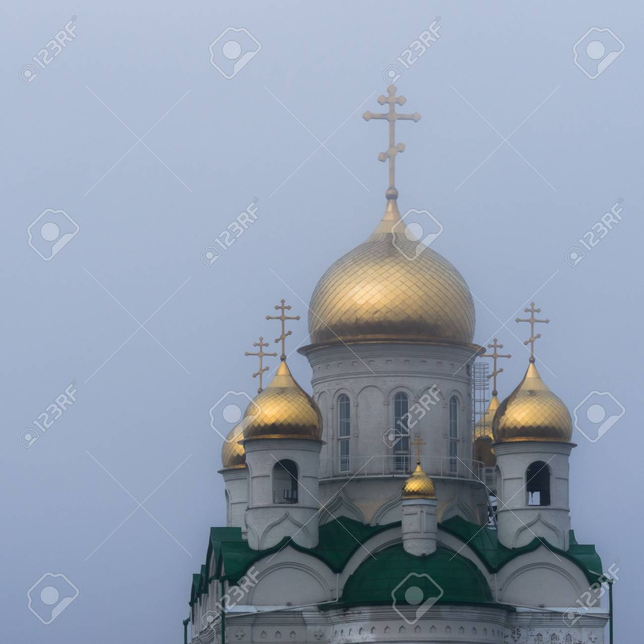 Golden domes of a Russian Orthodox Church in Barnaul, Russia,
