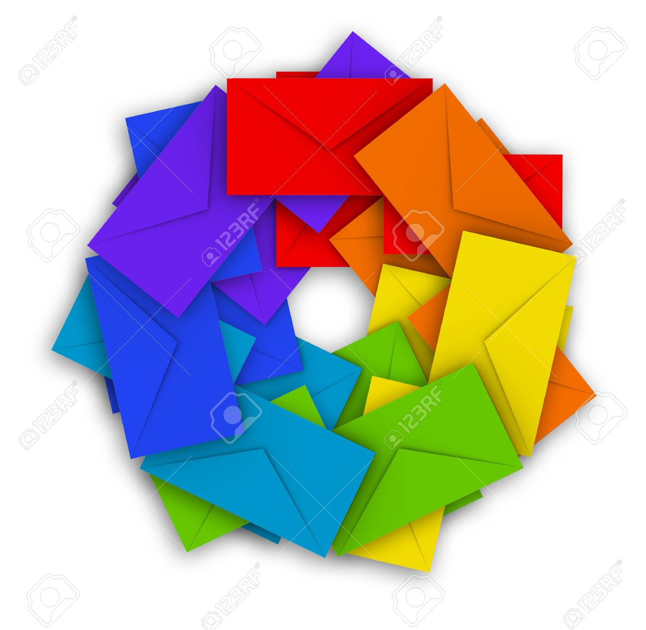 Round pile of colorful envelopes isolated above white Stock Photo - 15233004