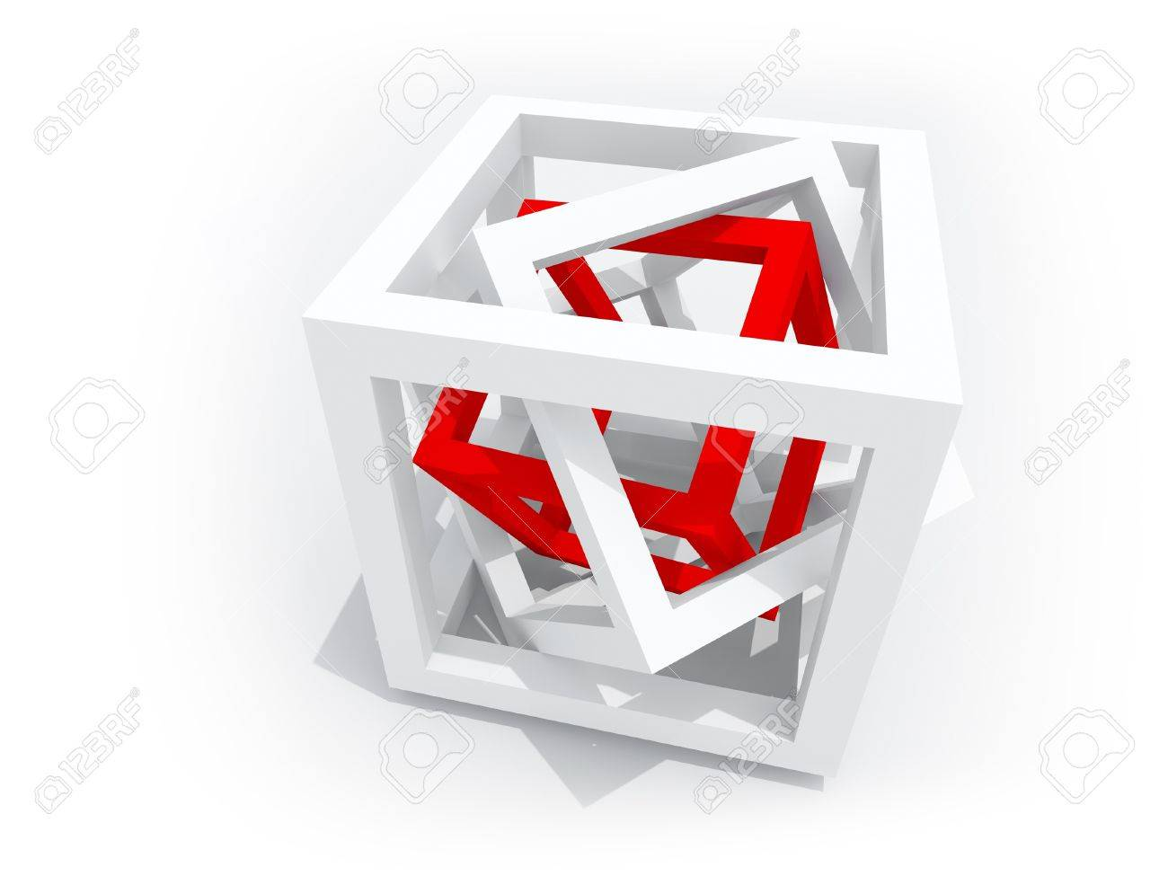Geometrisches Objekt Ein Roter Draht-frame Cube Innerhalb Von Zwei ...