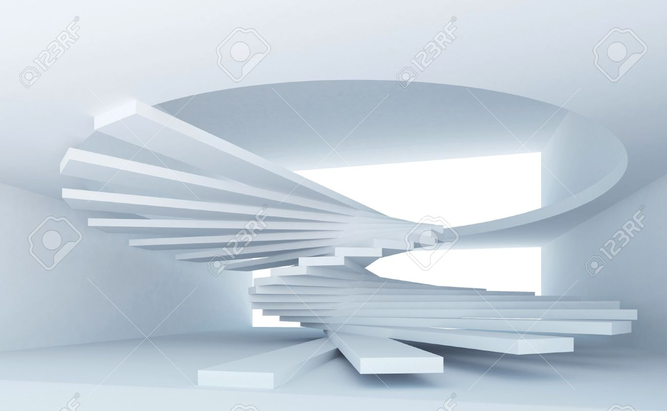 Blue Abstract Architecture Interior With Spiral Stairs Installation Stock  Photo   15233152