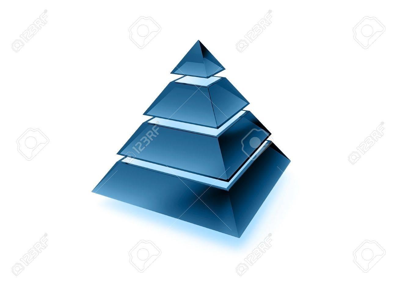 Illuminated layered pyramid made of dark blue glass isolated on white Stock Photo - 15232272
