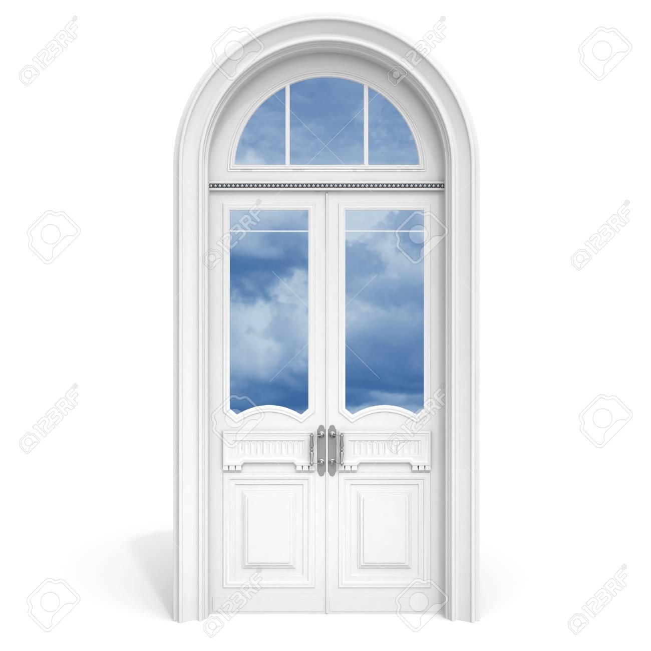 Estilo Clasico Arquitectura Interior Objetos De Madera Blanca Con Puerta De Vidrio Secciones Reflejadas Aislado En Blanco