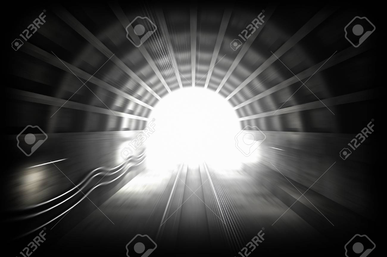 3d render illustration with glowing end of subway tunnel  View from driver cabin with motion blur Stock Photo - 15232389