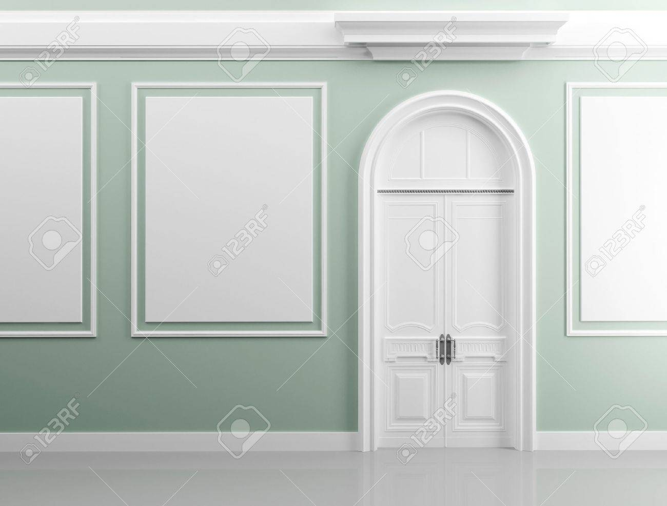 Classical architecture style interior background texture  Light green walls with white design elements and door Stock Photo - 15232680