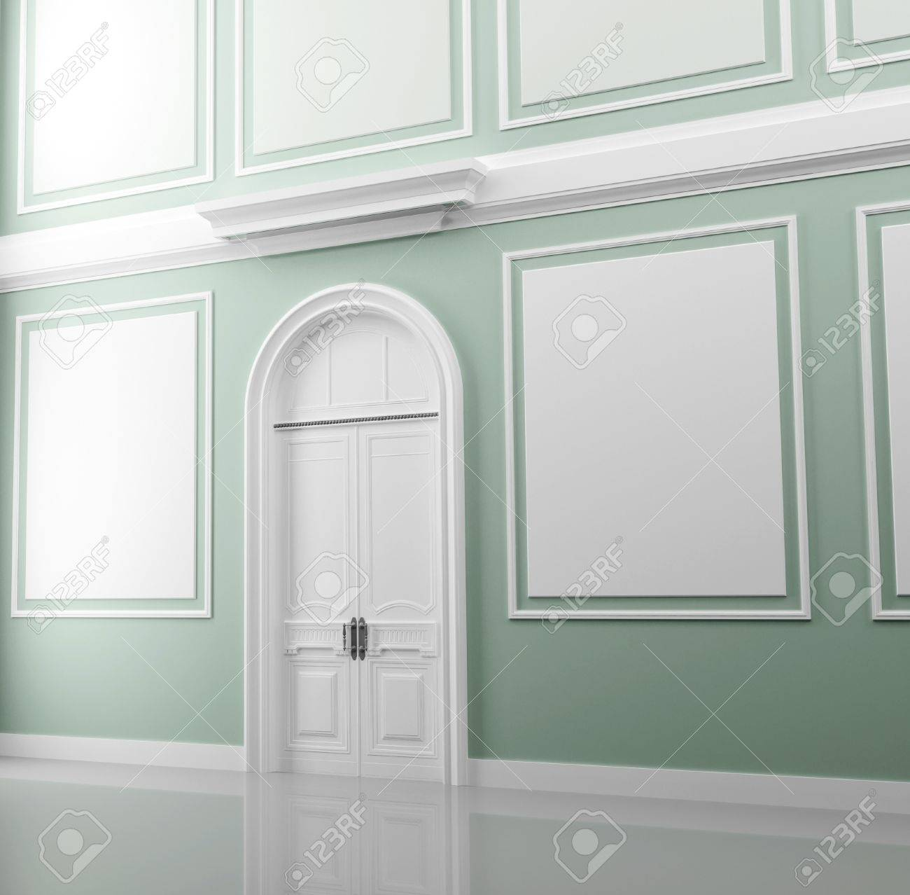 Abstract palace interior fragment with light green walls and white door Stock Photo - 15232773