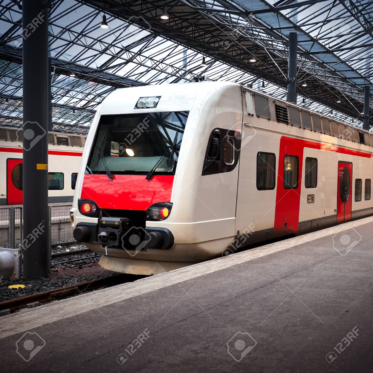 Perspective view of the modern electric express train on a platform Stock Photo - 15670156