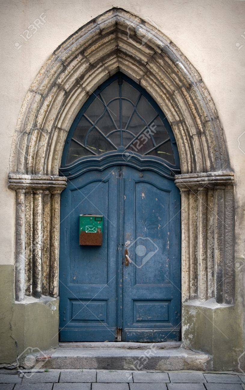 Fragment An Ancient Build With Blue Gothic Wooden Door Stock Photo ...