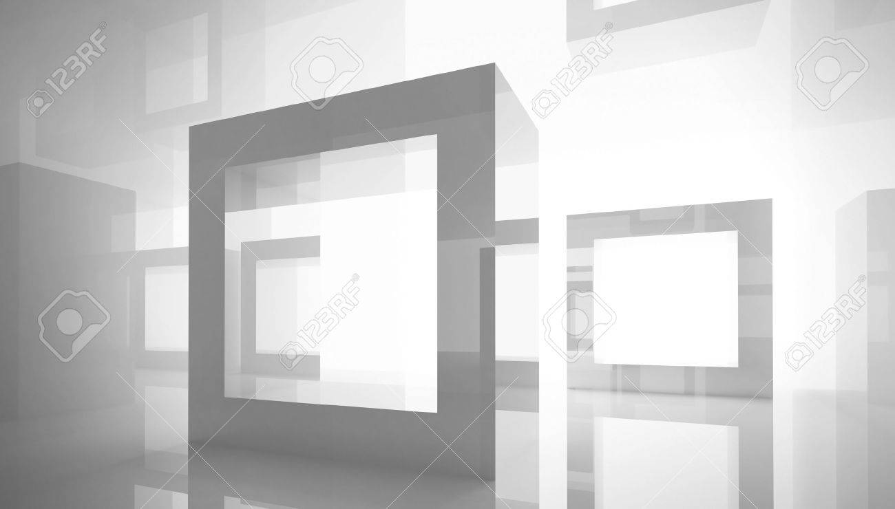 abstract architecture background with square frames in white studio interior stock photo 16221641 - White Square Frames