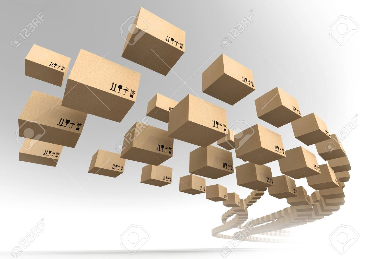 Stream of flying cardboard boxes  Fast accuracy delivery metaphor Stock Photo - 16564936
