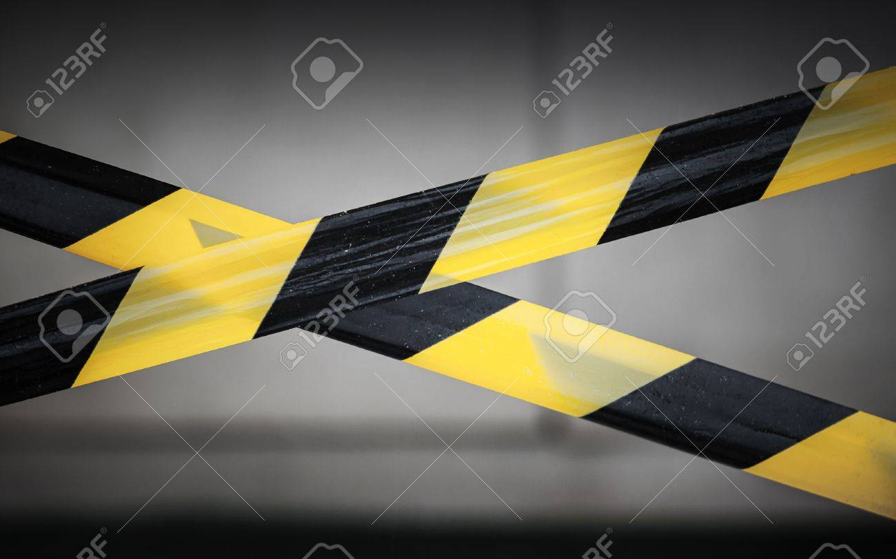 Black and yellow striped tapes  Restricted area border Stock Photo - 16875340