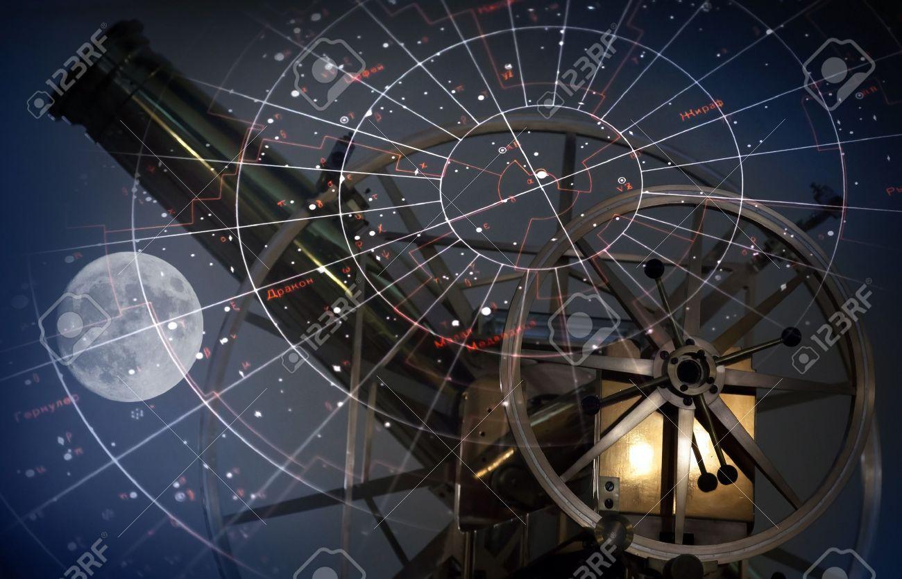 月と星の地図、古い望遠鏡天文学...
