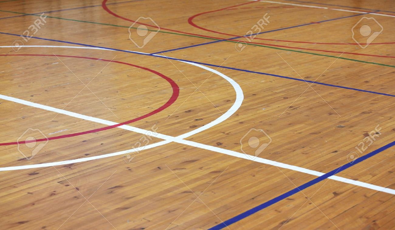 basketball floor: Wooden floor of sports hall with marking lines Stock Photo - Basketball Floor Images & Stock Pictures. Royalty Free Basketball