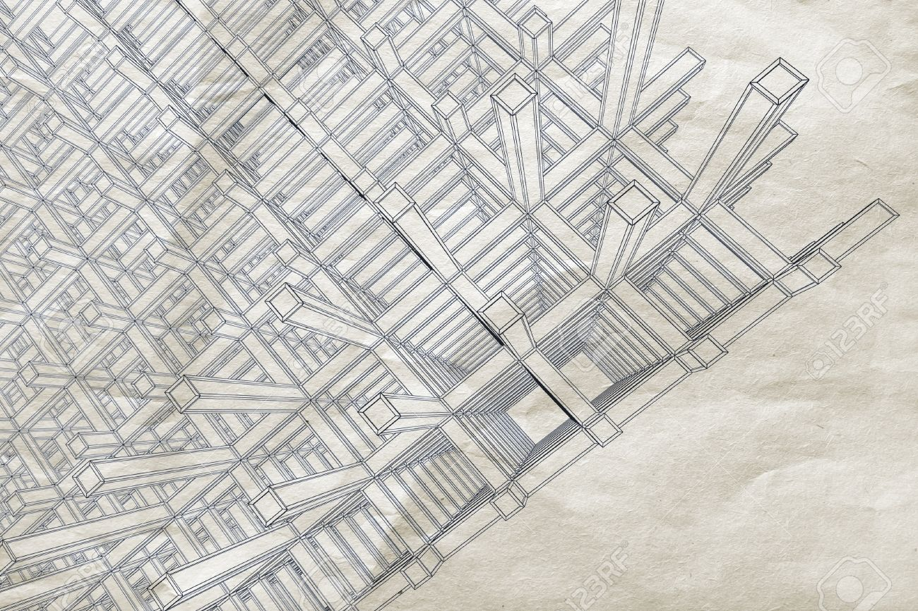 Blueprint with perspective view of an abstract 3d braced blueprint with perspective view of an abstract 3d braced construction on old paper stock photo malvernweather Image collections