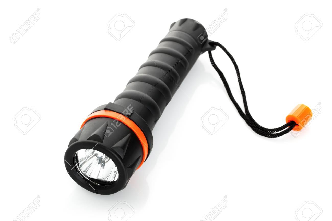 Portable waterproof flashlight isolated on white background Stock Photo - 17694082