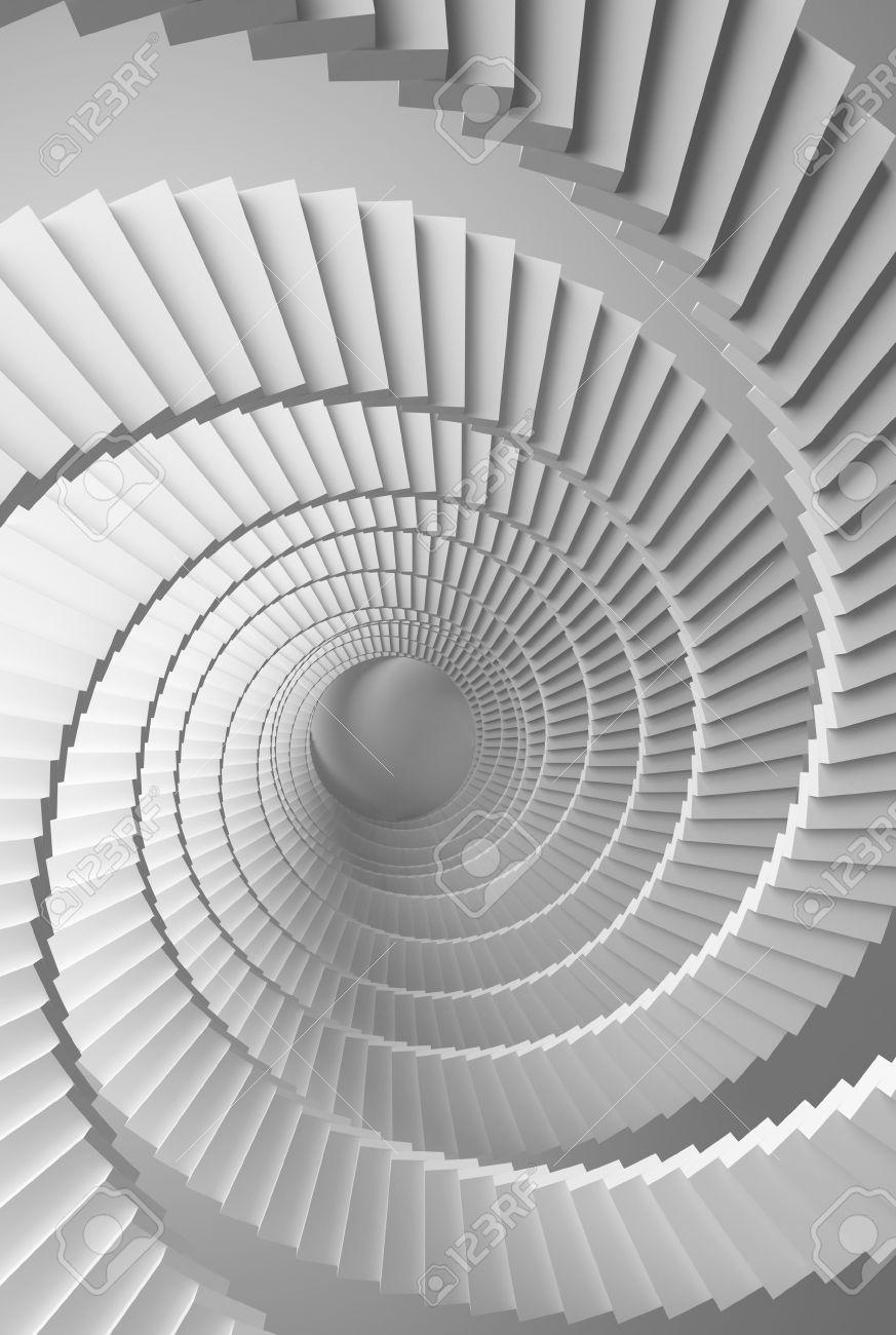 3d Ilustracion De Fondo Con Espiral Blanca Perspectiva Escaleras - Escaleras-en-espiral