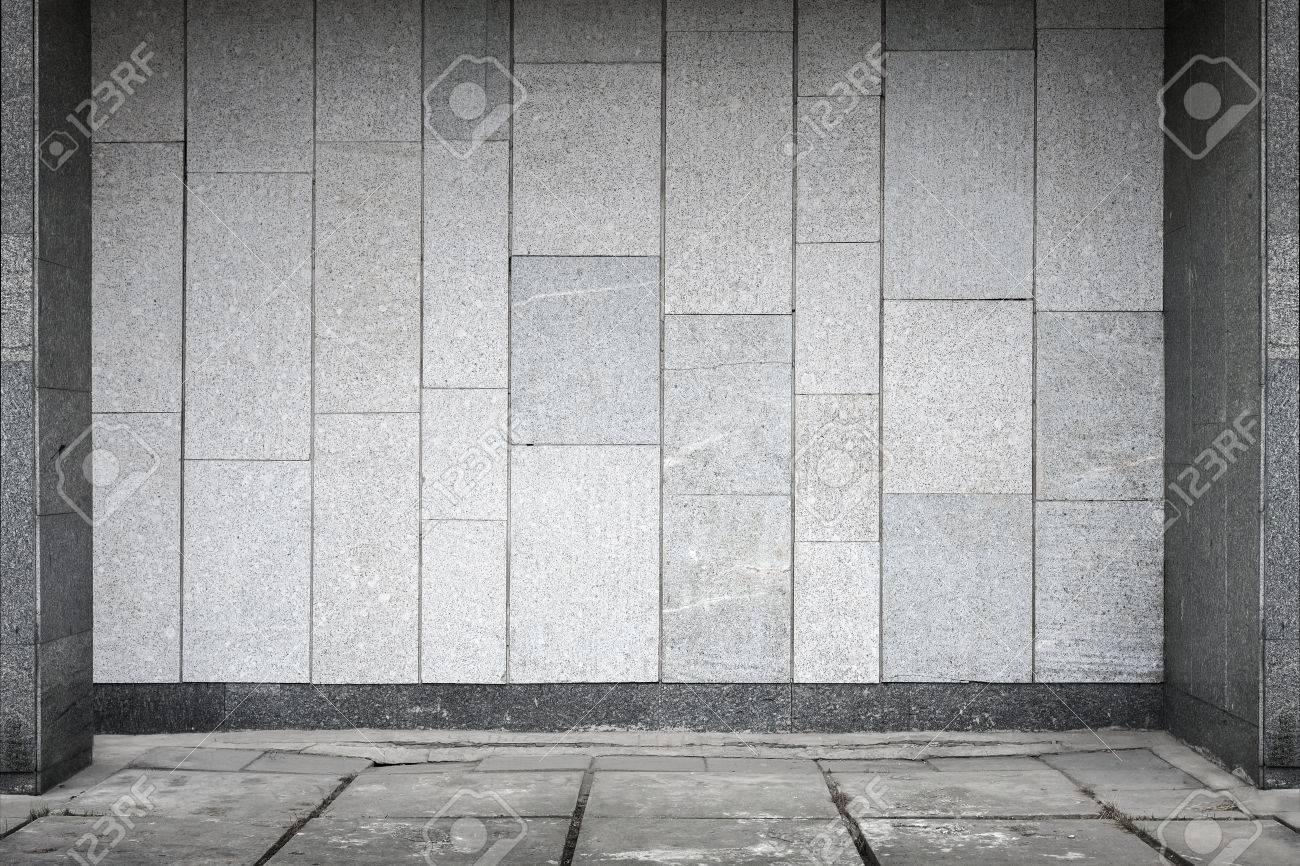 Leere Stadtischen Interieur Mit Steinfliesen An Wand Und Beton