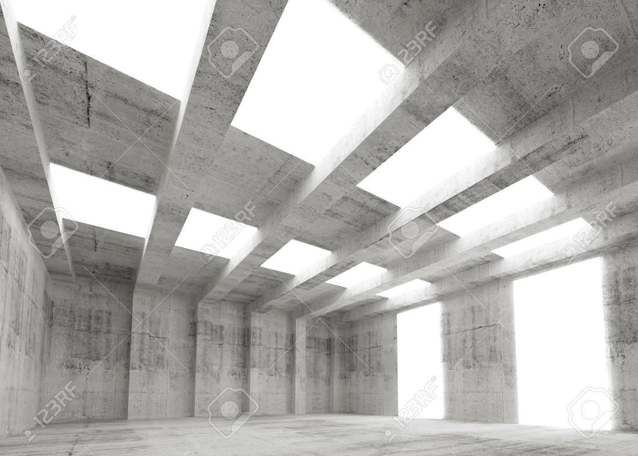 Beton In Interieur : Résumé vide béton intérieur 3d avec des lumières et des poutres