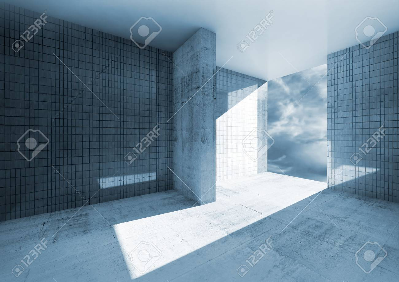 Abstract Blue Empty Room Interior With Concrete Floor And Tile ...