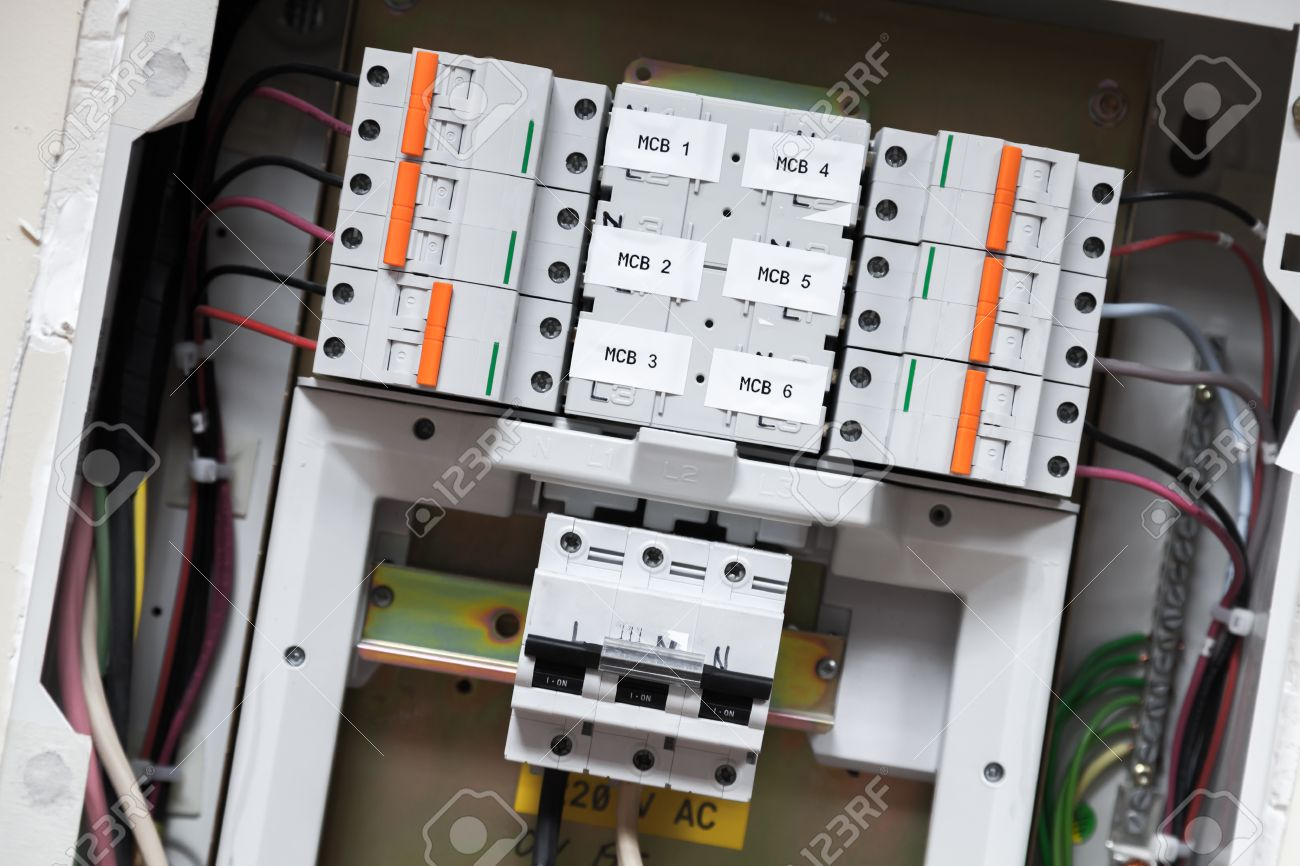 Electrical Panel With Automatic Circuit Breakers And Wires Stock Photo 29013335