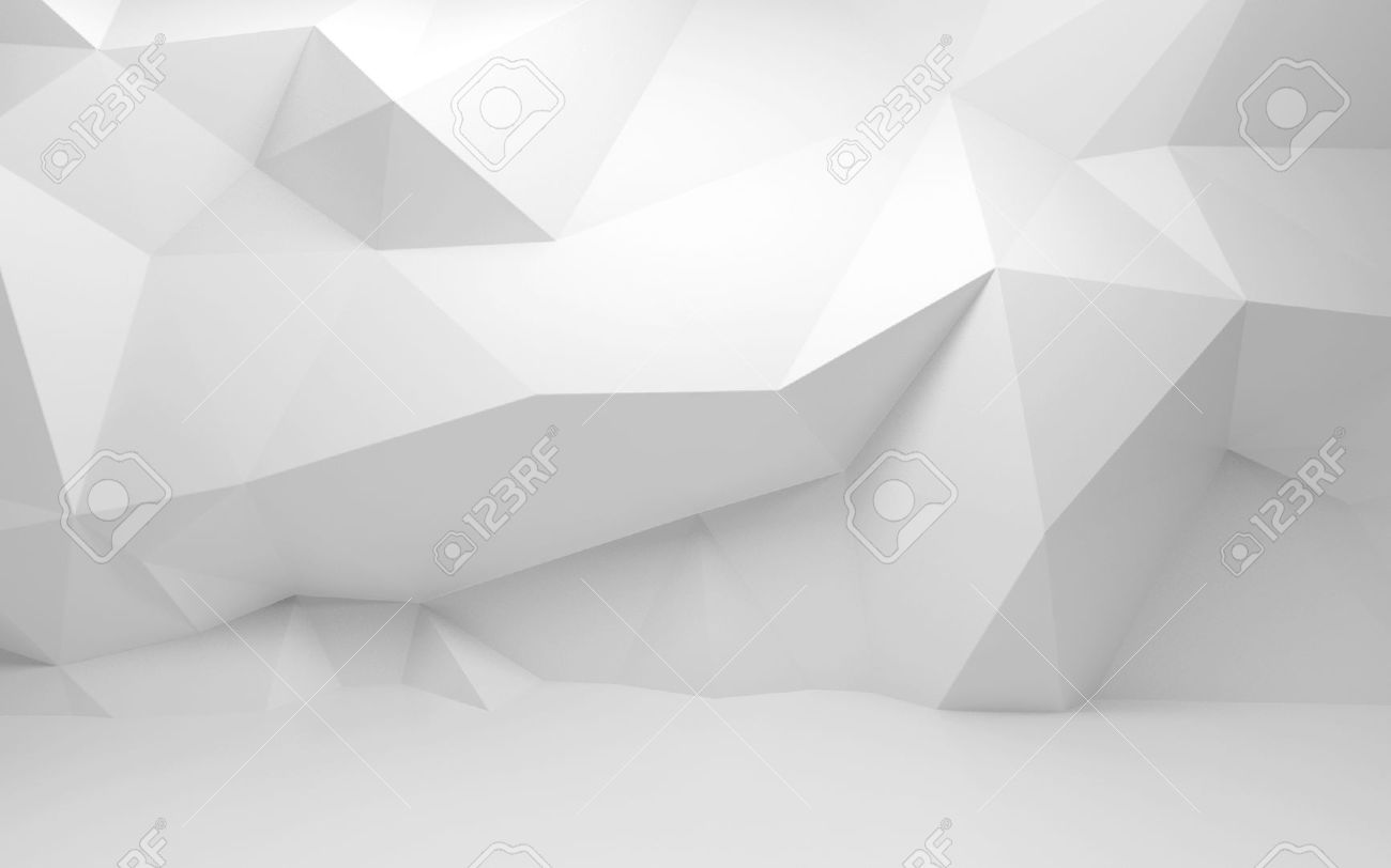 Abstract white 3d interior with polygonal pattern on the wall Stock Photo - 29792115