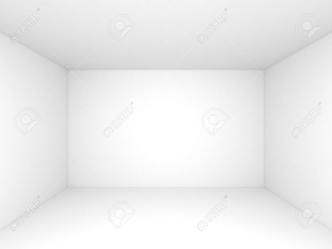 Empty White 3d Room Interior Background, Front View Stock Photo   32867465