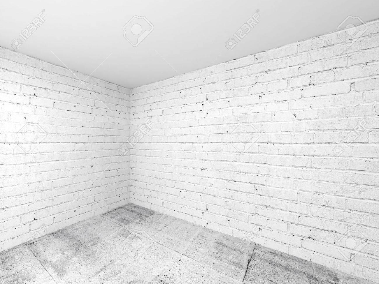 Leere Weiße Raum 3d Interior Hintergrund Ecke Mit Ziegelwänden Und