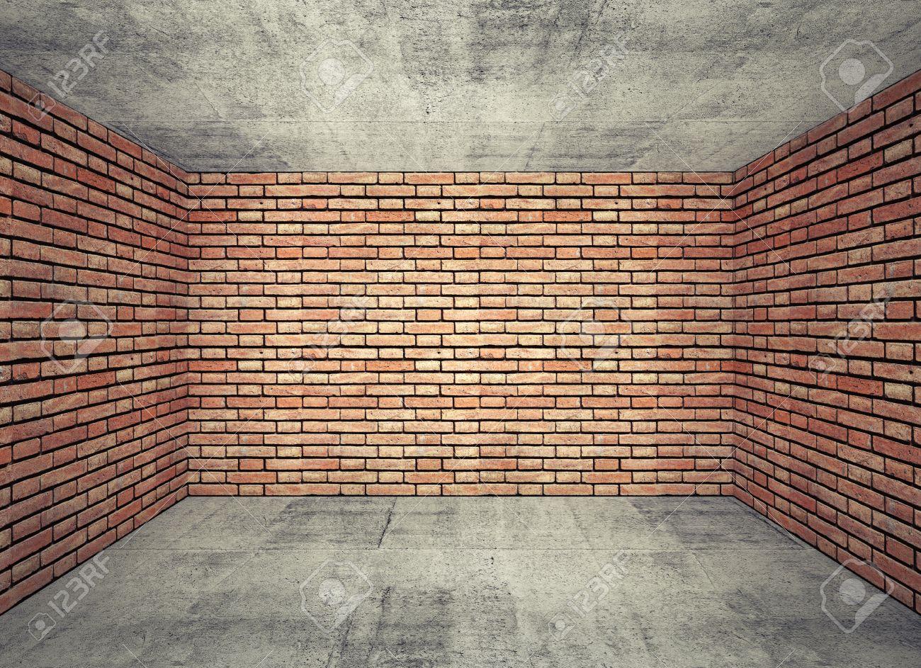 Intérieur de la chambre à vide avec des murs en briques rouges et ...