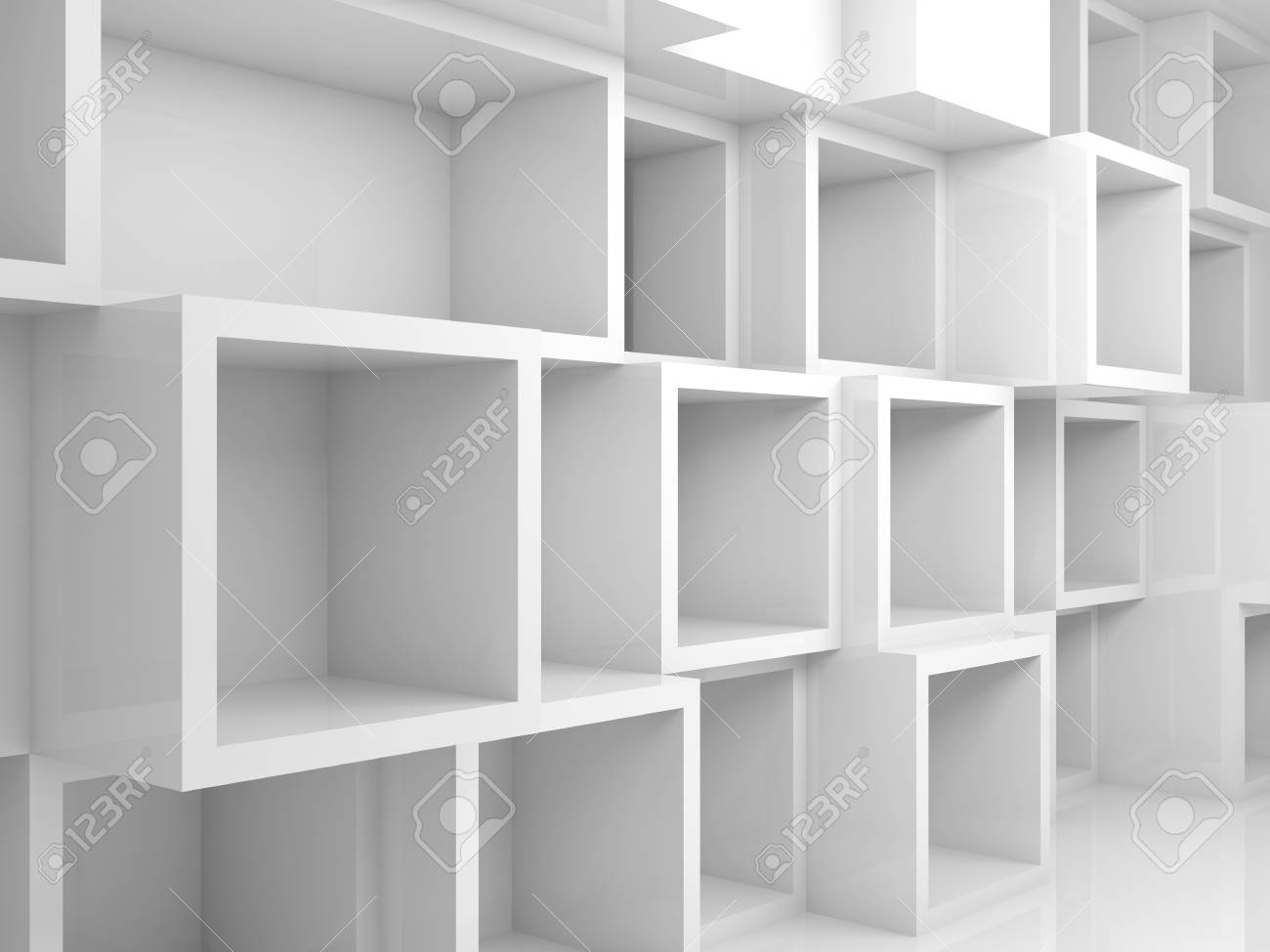 abstract empty 3d interior with white square shelves on the wall rh 123rf com white square shelves ikea white square bookshelves