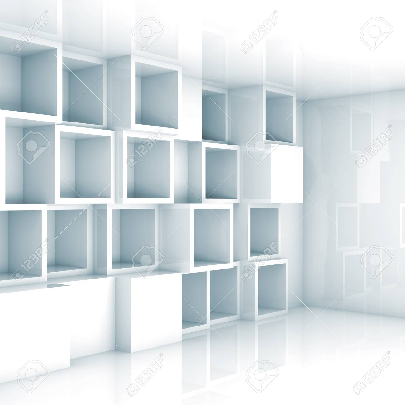Abstract empty 3d interior with white empty cube shelves on the