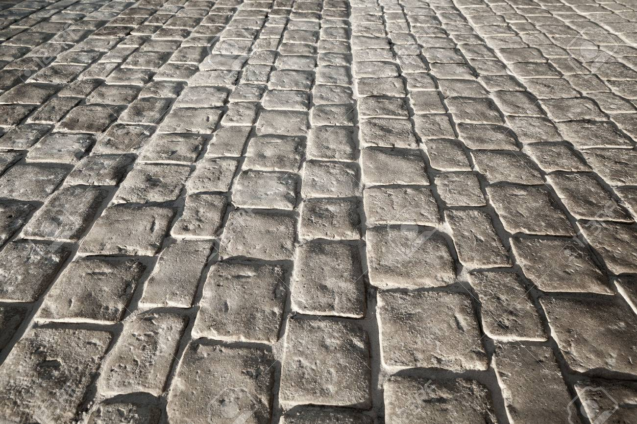 Dark Gray Stone Floor Pavement Background Texture With Perspective Stock Photo