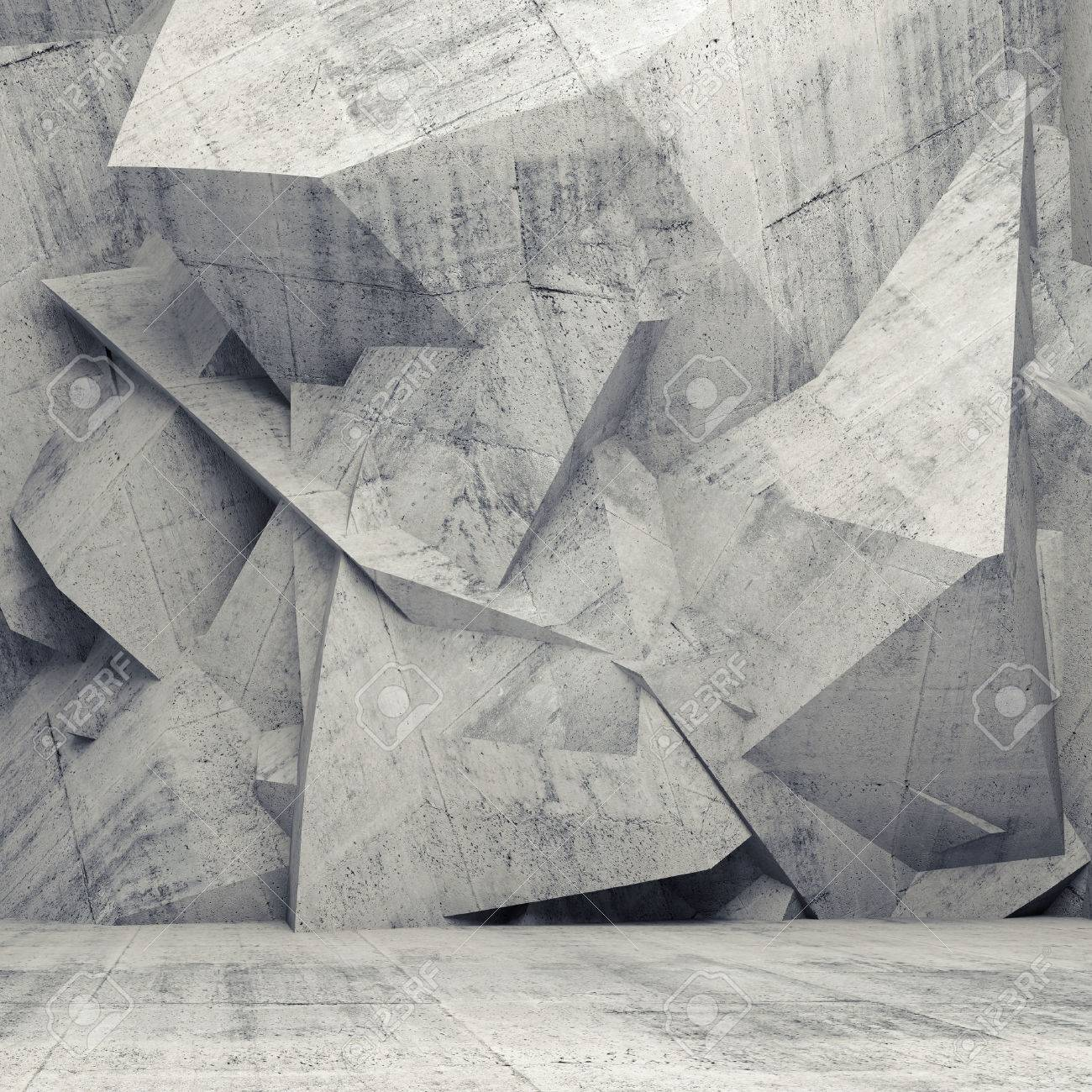 Abstract concrete 3d interior with chaotic polygonal relief pattern on the wall Stock Photo - 35711808