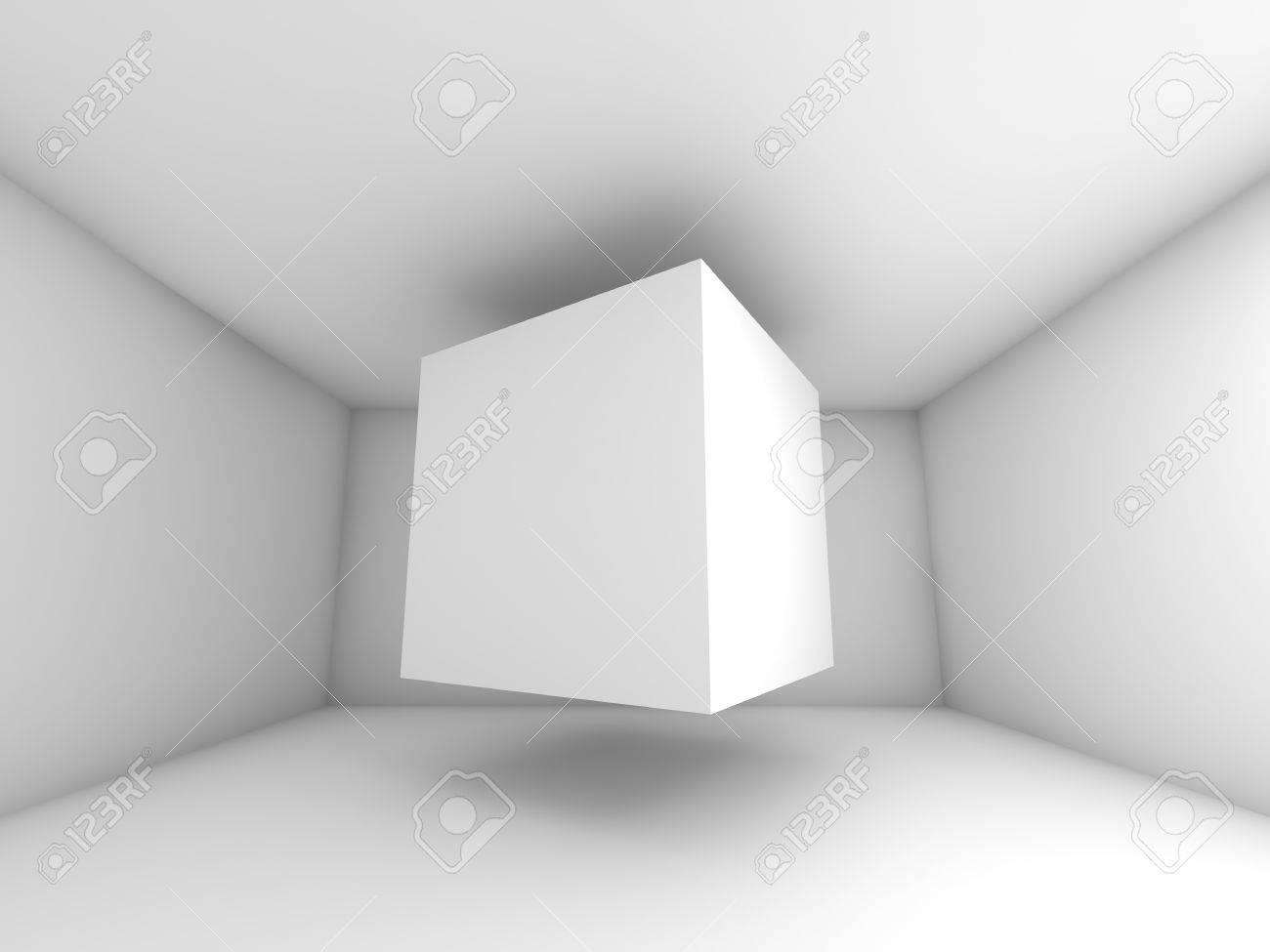 抽象的なホワイト ルームのインテリア。キューブに飛んで 3 D 背景 ...