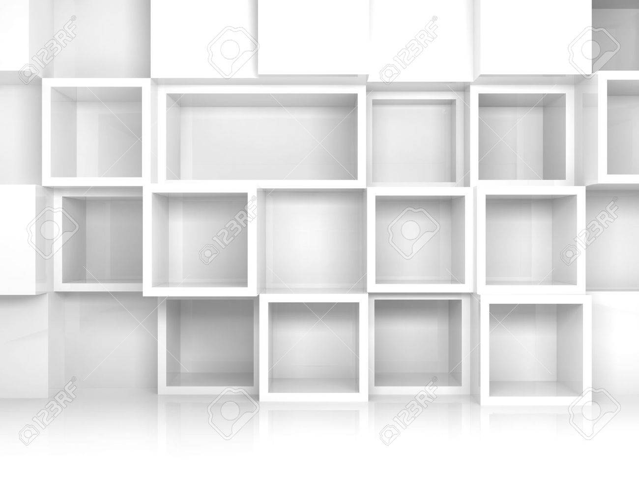 abstract empty 3d interior with white square shelves on the wall rh 123rf com white square shelves ikea white gloss square shelves