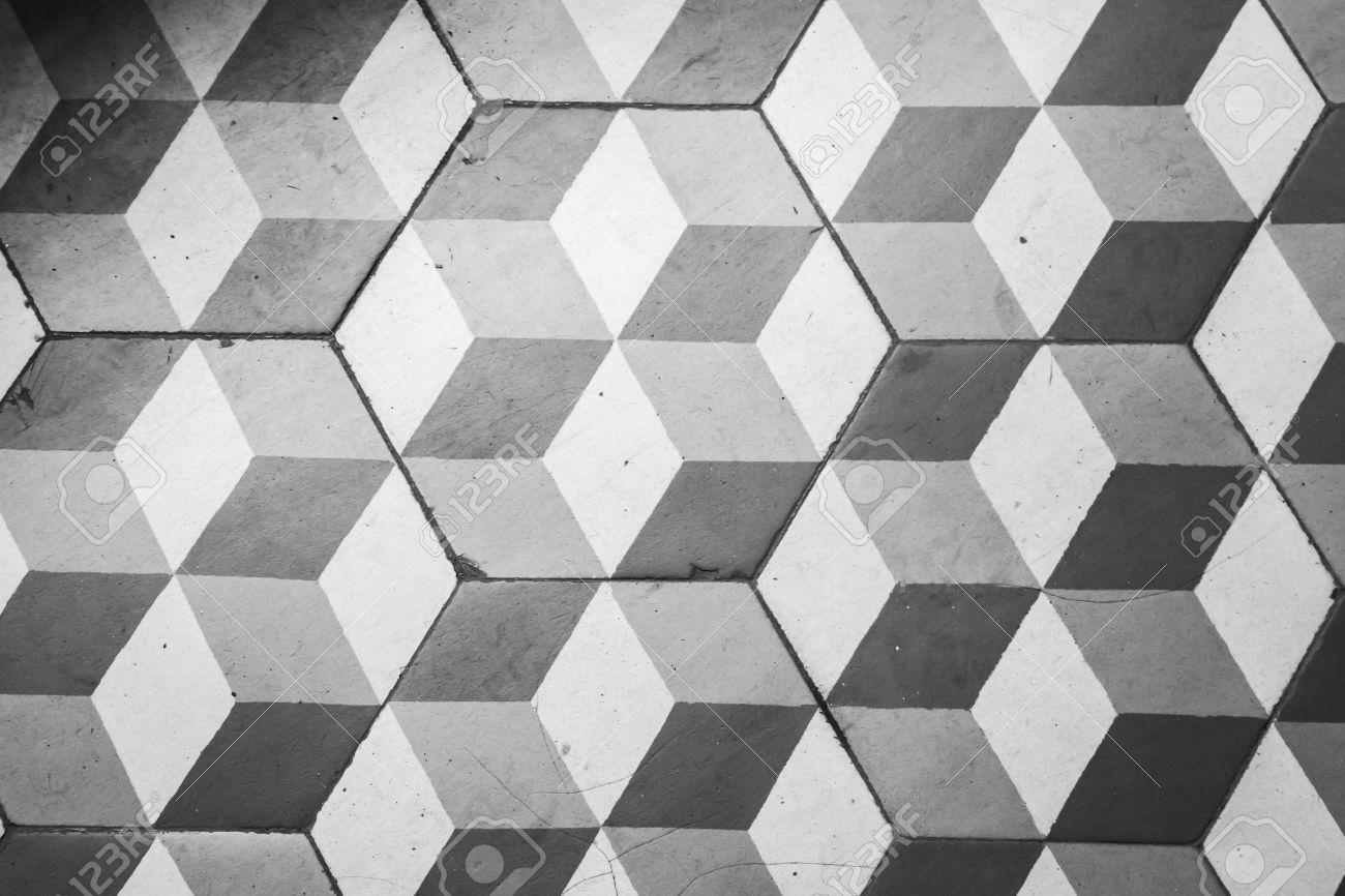 Carrelage Ancien En Noir Et Blanc Sur Le Sol Style Rétro Motif Cube - Carrelage ancien