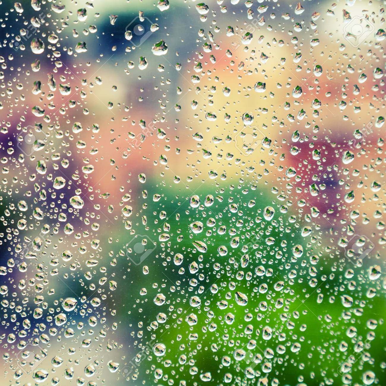 Wet Glass With Droplets Colorful Square Photo Background With Stock Photo Picture And Royalty Free Image Image 38329364