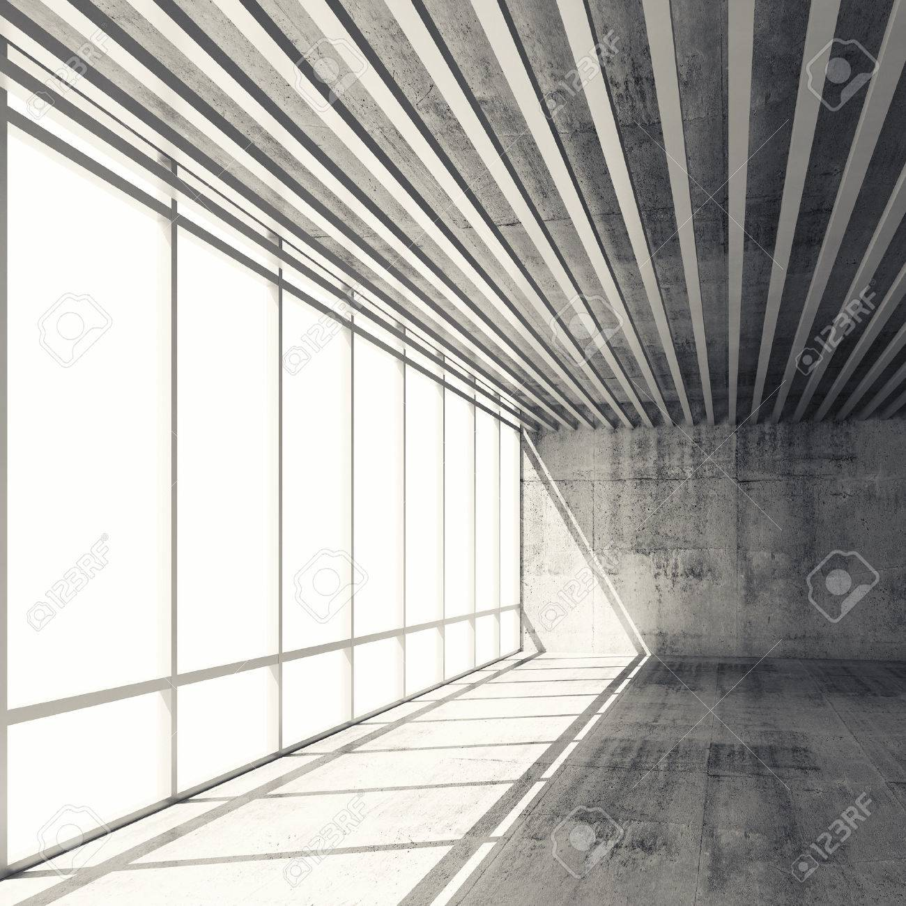 abstract architecture background empty interior with bright windows and gray concrete walls 3d illustration