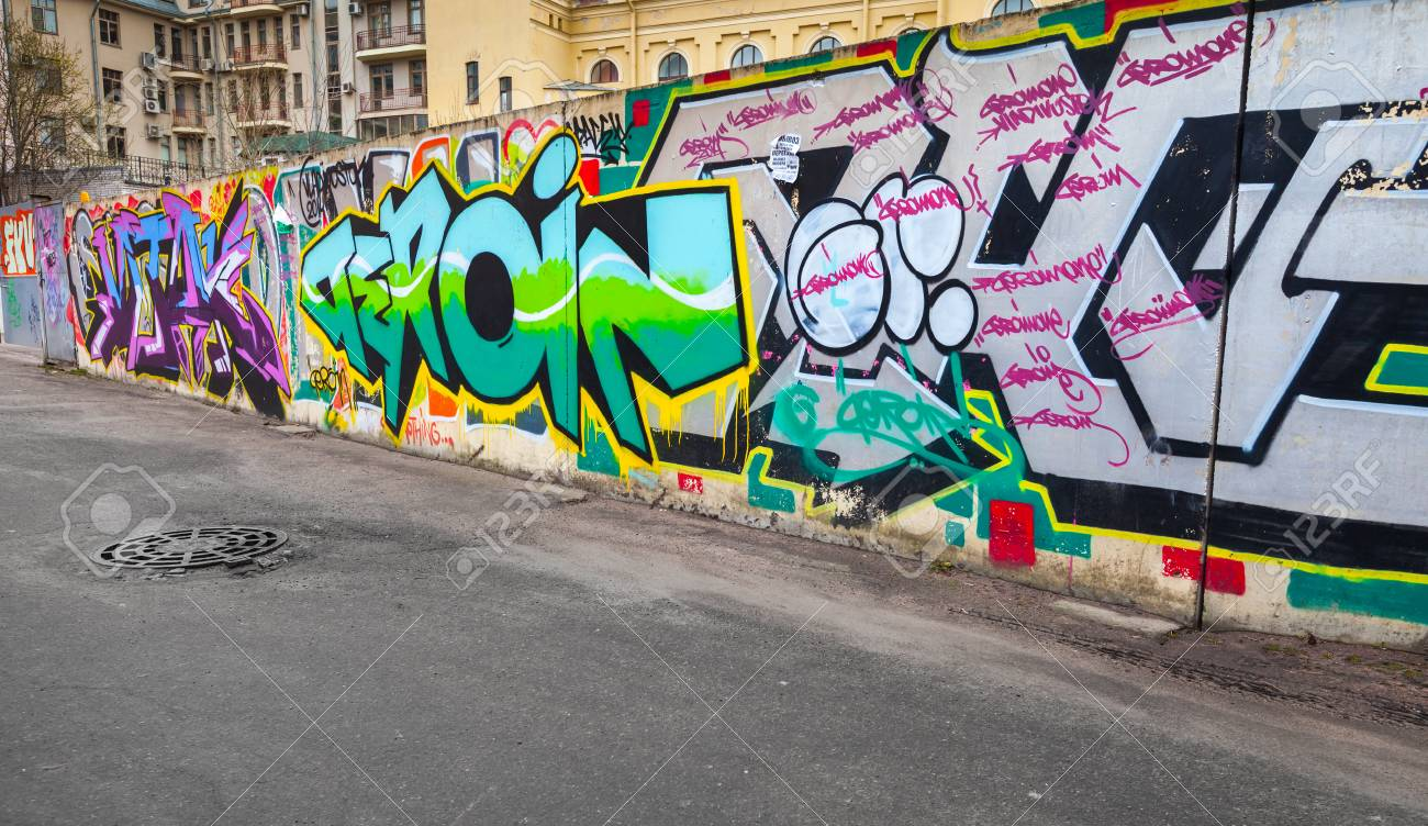 Saint petersburg russia april 7 2015 colorful chaotic graffiti text patterns