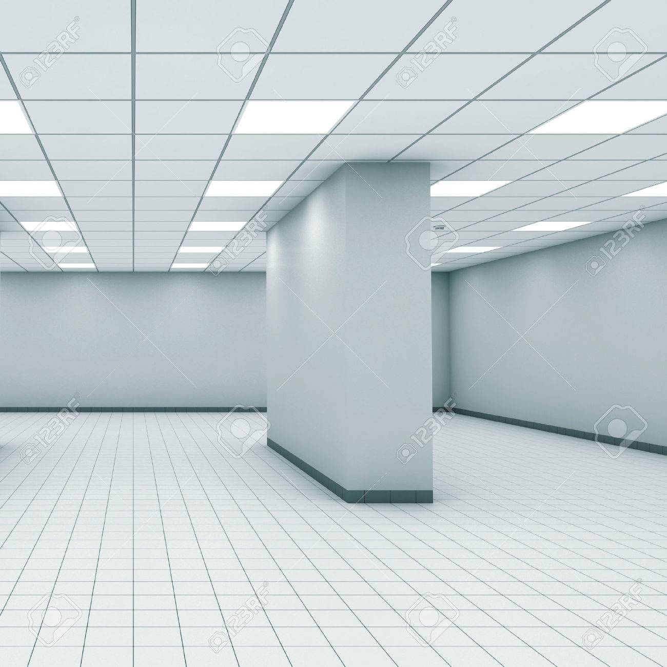 office ceiling lamps abstract empty office room interior with column ceiling lights and floor tiling 3d architecture ideas lobby office smlfimage