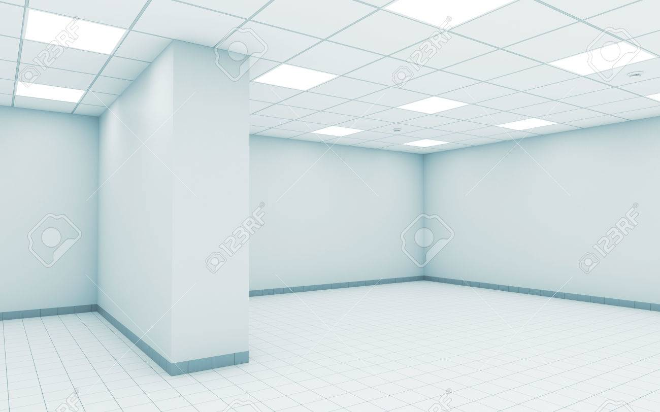 Abstract Empty White Office Room Interior With Ceiling Illumination ...