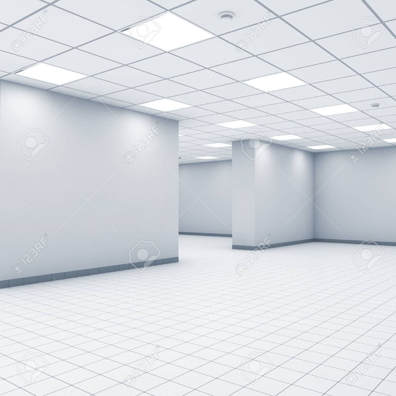 Open Space Background, Abstract Empty Office Interior With White ...