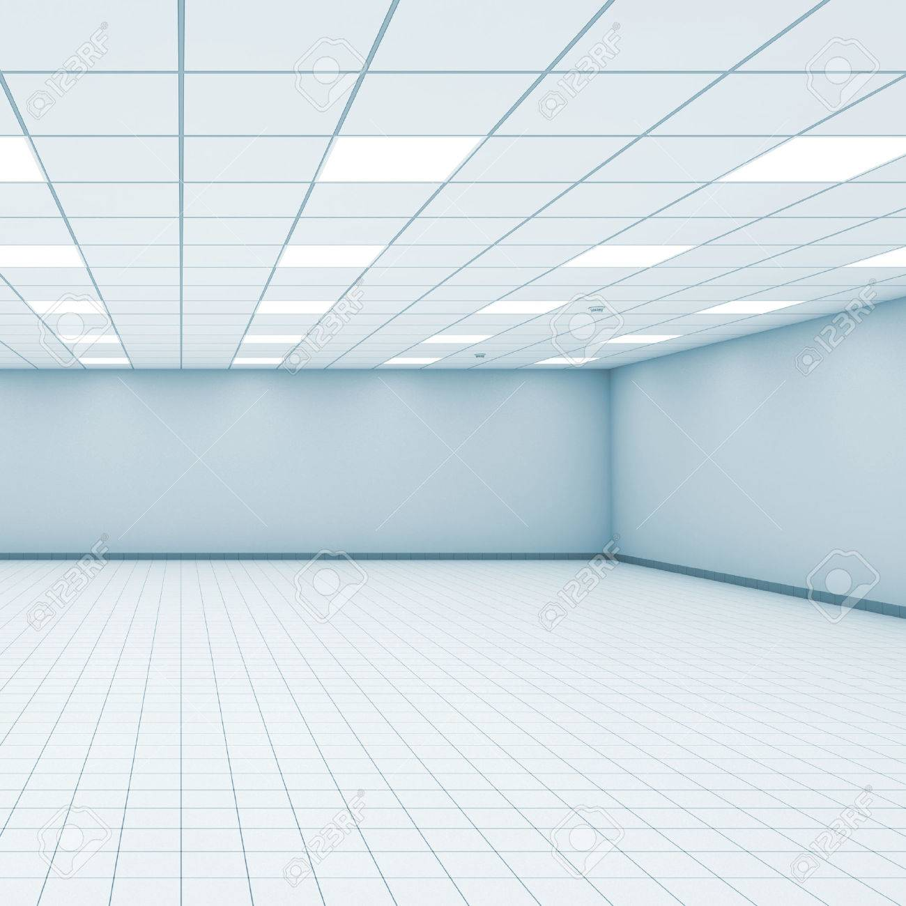 Abstract Empty Office Room Interior With Light Blue Walls, Ceiling ...