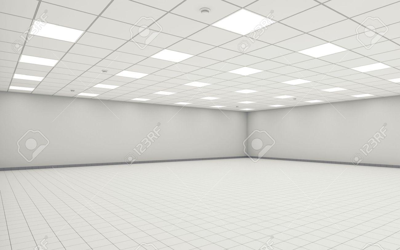 Interior Wide Sala De Oficina Vacia Con Paredes Blancas Iluminacion - Iluminacion-de-techo