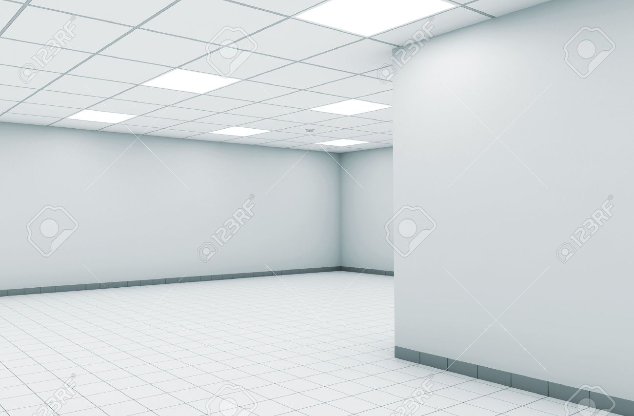 Abstract Empty Office Room Interior With White Walls, Square.. Stock ...