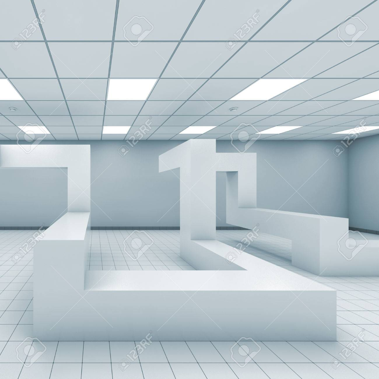 Abstract Monochrome Empty Office Room Interior With Chaotic ...