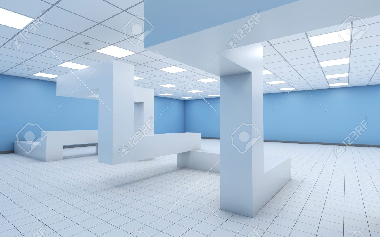abstract white empty office interior with chaotic geometric construction and light blue walls 3d illustration