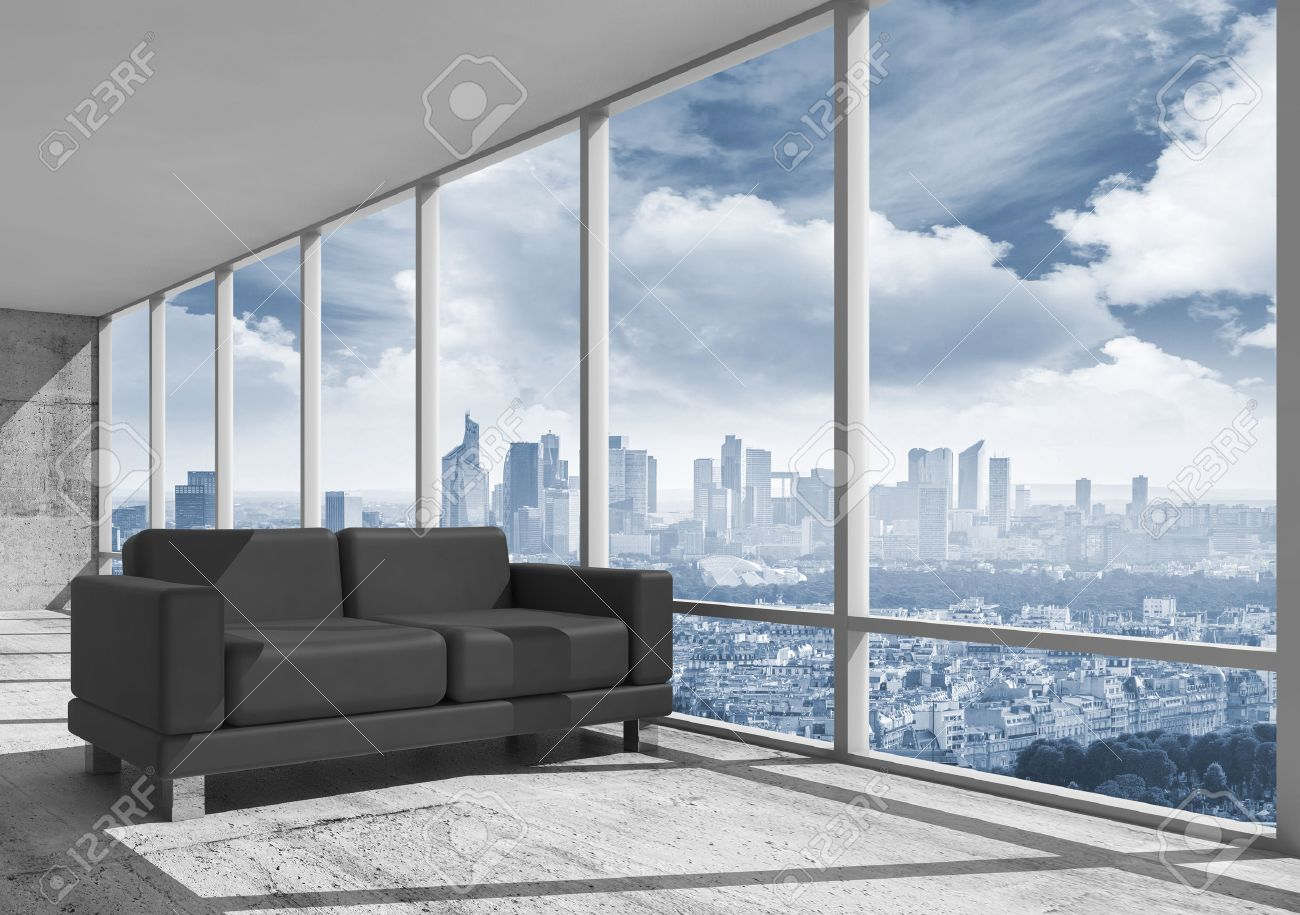abstract interior office room with concrete floor window and black leather sofa 3d black leather sofa office