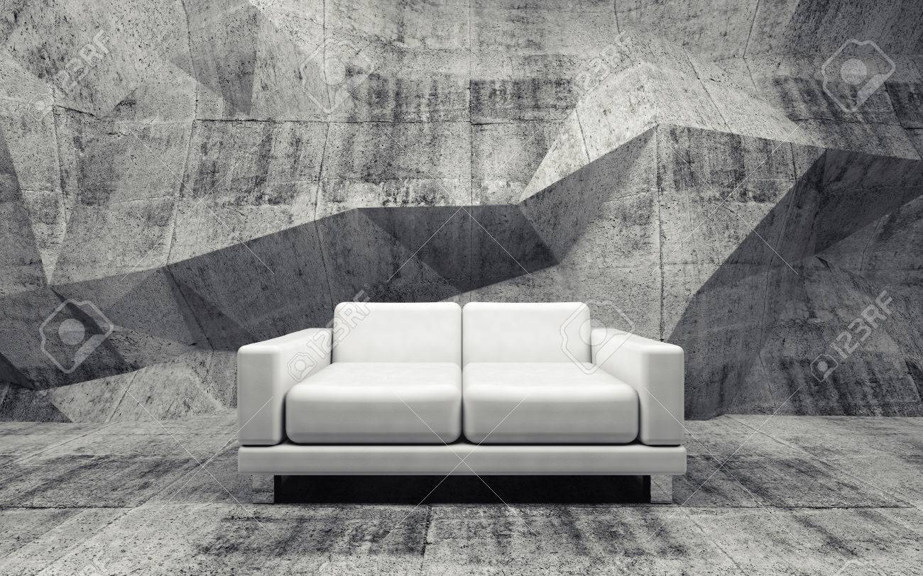 Abstract Interior, Concrete Room With White Leather Sofa, 3d Illustration  Stock Illustration   41411922