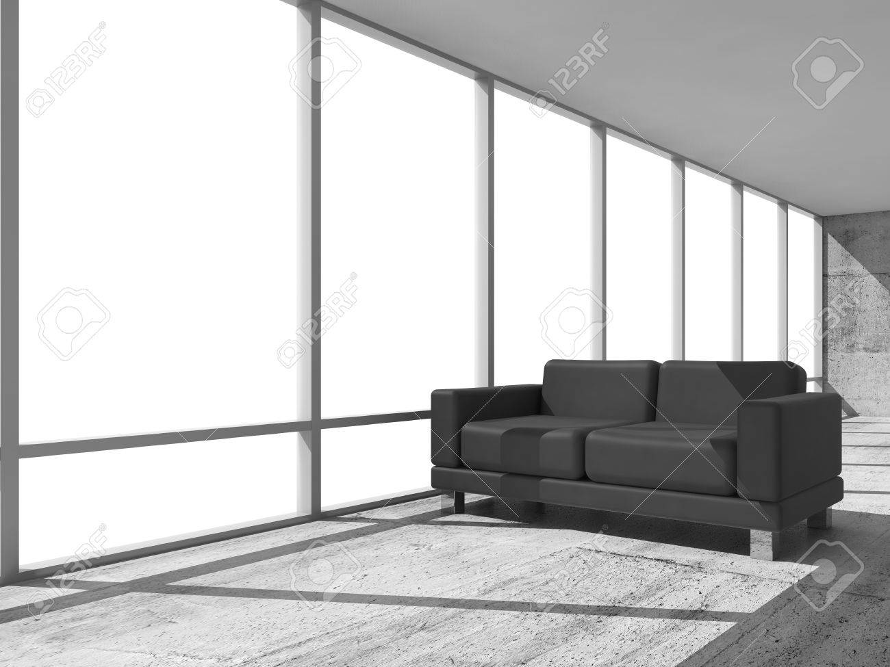 abstract interior office room with concrete floor white window and black leather sofa black leather sofa office