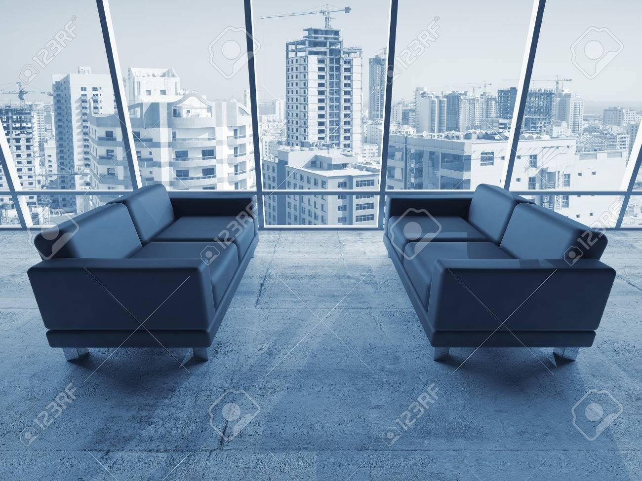 Divani In Pelle Blu.Immagini Stock Interno Astratto Stanza Ufficio Con Pavimento In